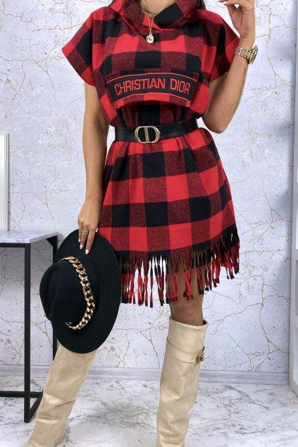 Luxusní kárované šaty s kapucí - červené
