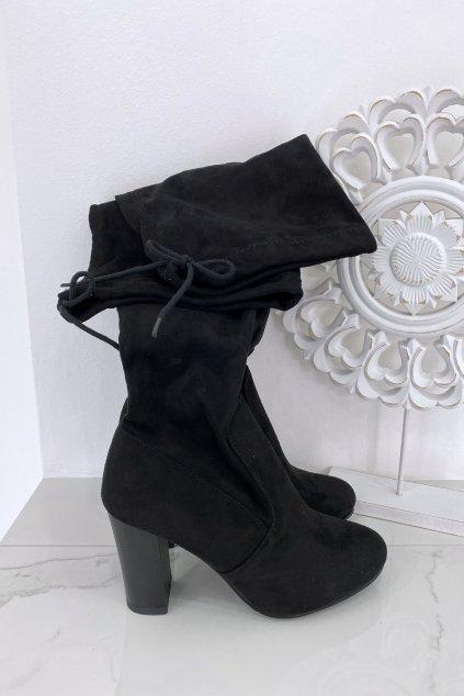 Černé kozačky nad kolena - Mia