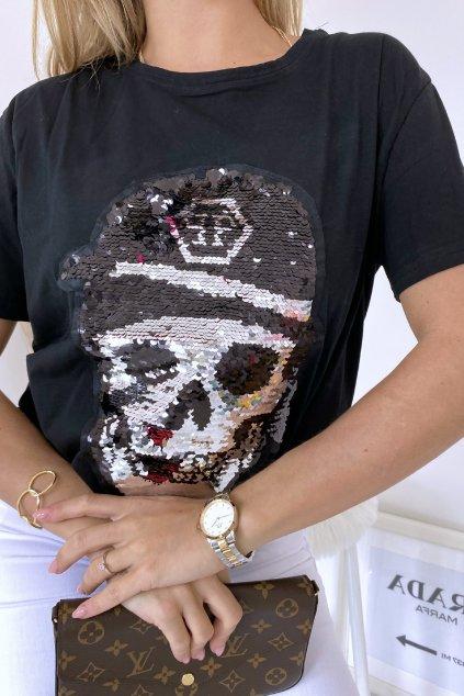 Triko s flitry Skull