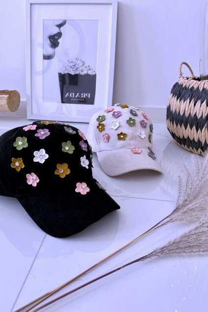 Béžová kšiltovka 3D flower