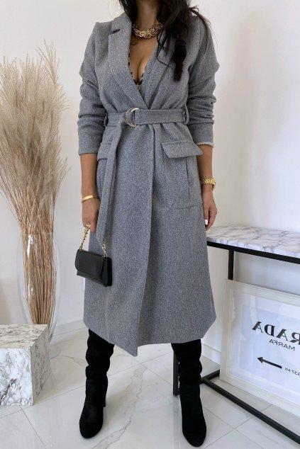 Šedý kabát s páskem Fiorino