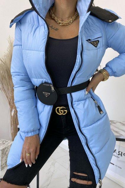Světlé modrá bunda Fashion s páskem