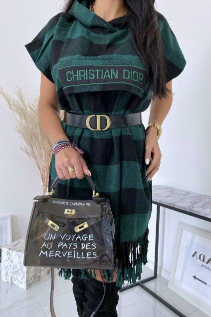 Zelené kárované šaty Christina s páskem