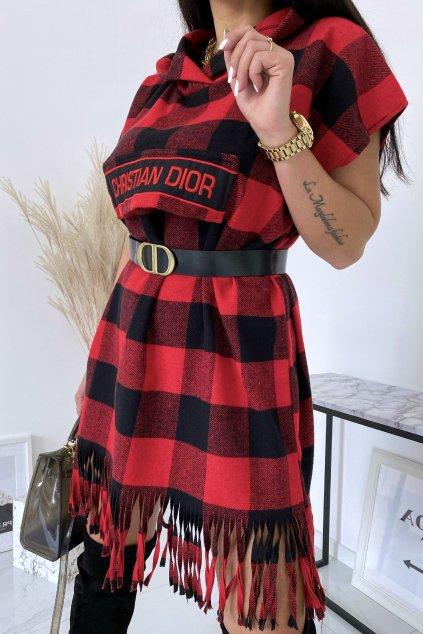 Červené kárované šaty Christina s páskem