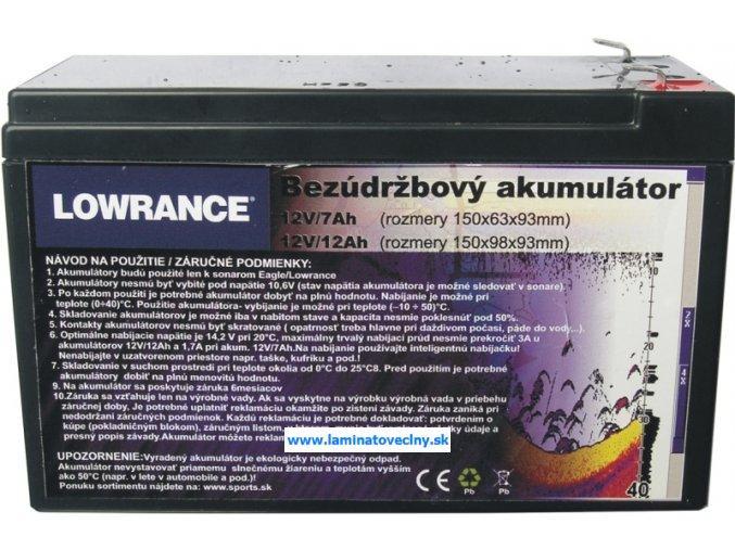 Akumulátor 12V/7Ah malá k sonaru a BL lodke