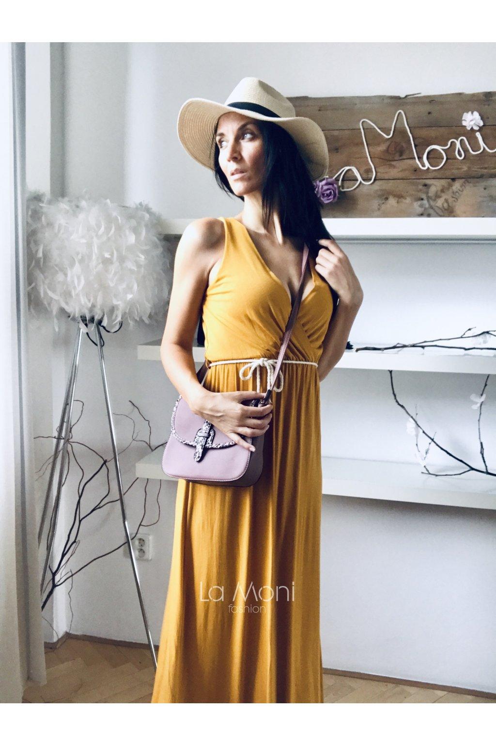 Dlouhé křížené  úpletové šaty s páskem
