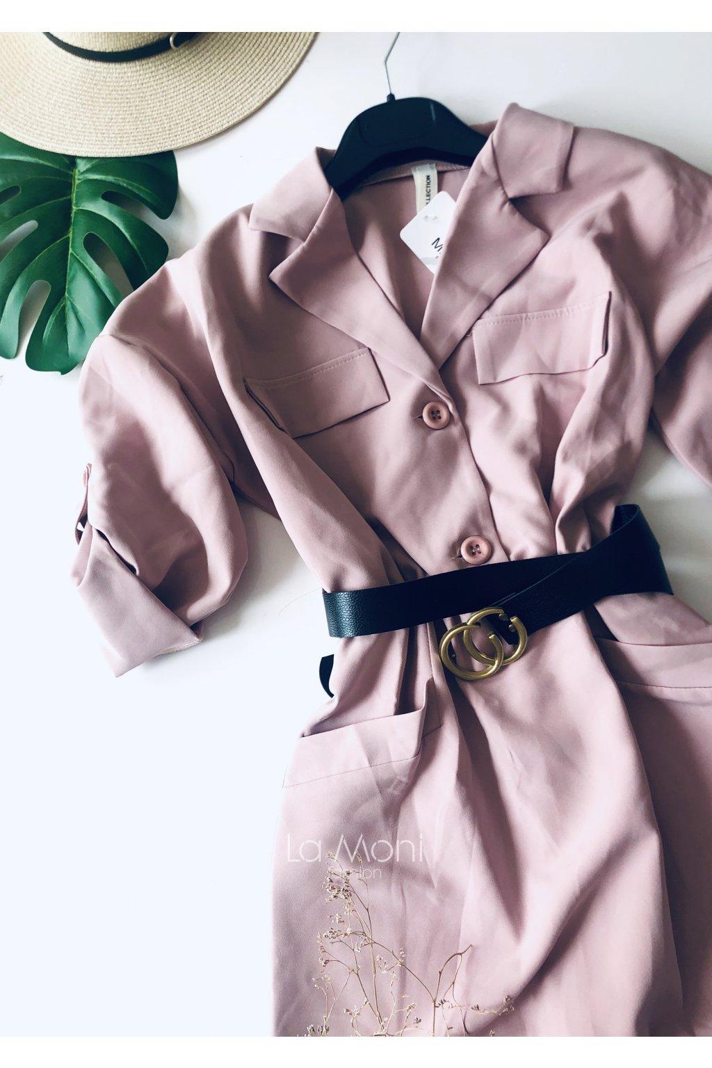 Luxusní košilové šaty s kapsami a páskem