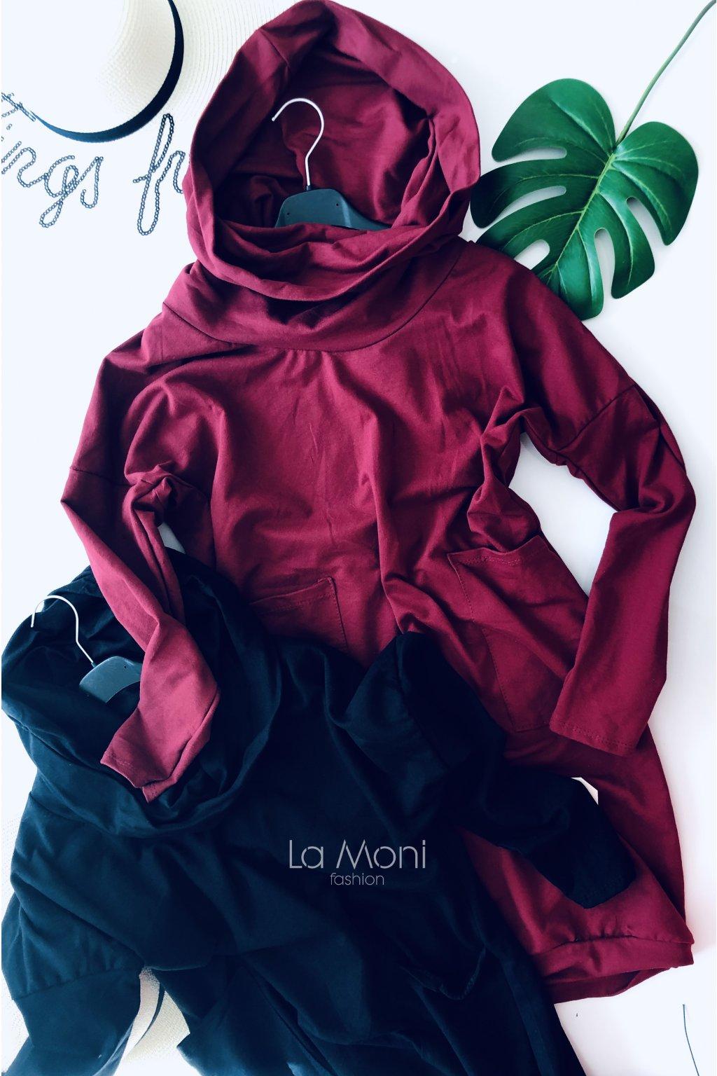 Mikinové cool  šaty s kapsami a rolákokapucí