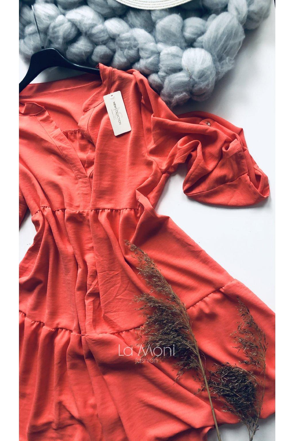 Oversize šaty volánové s rozhalenkou