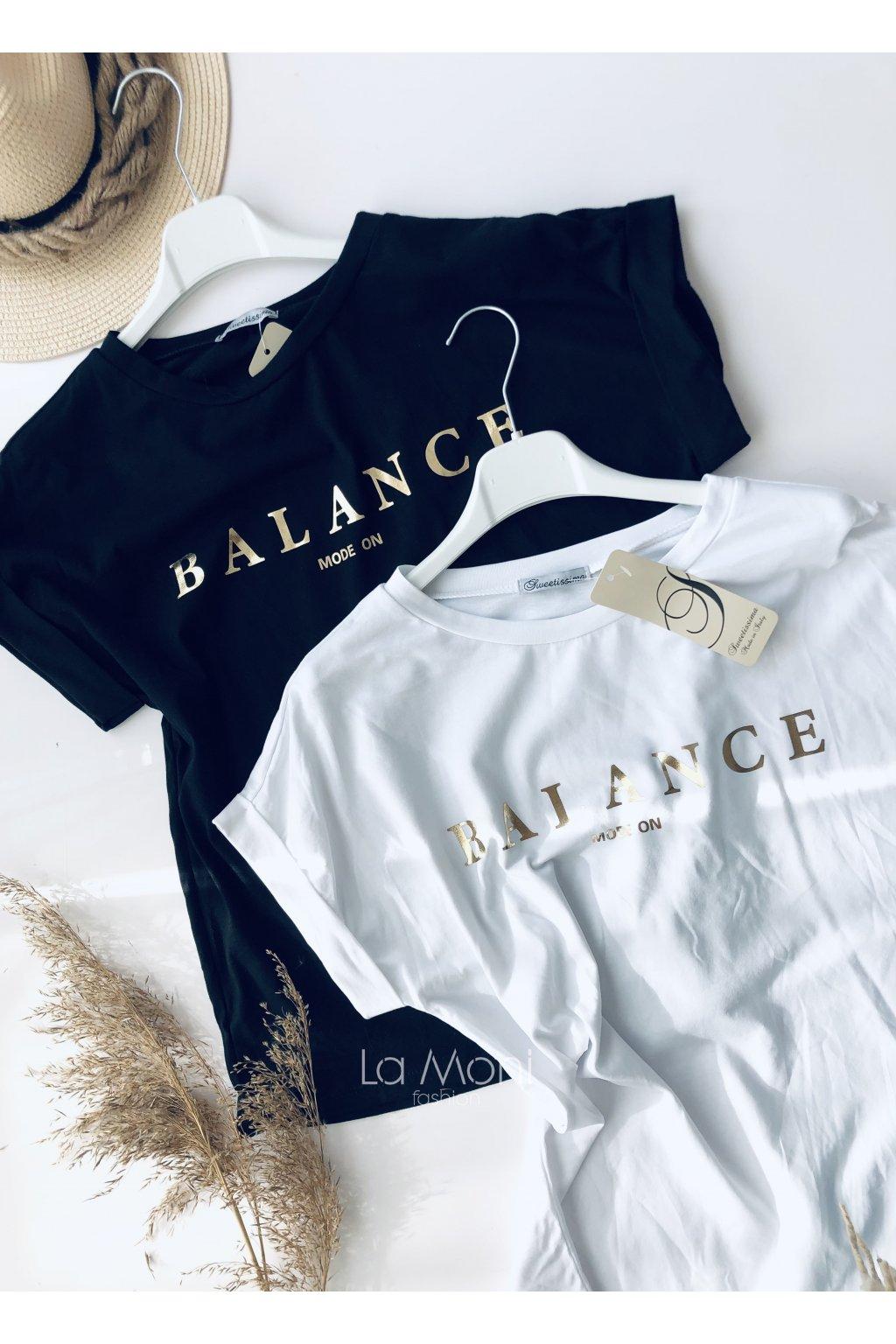 Triko Balance  - zlatý nápis