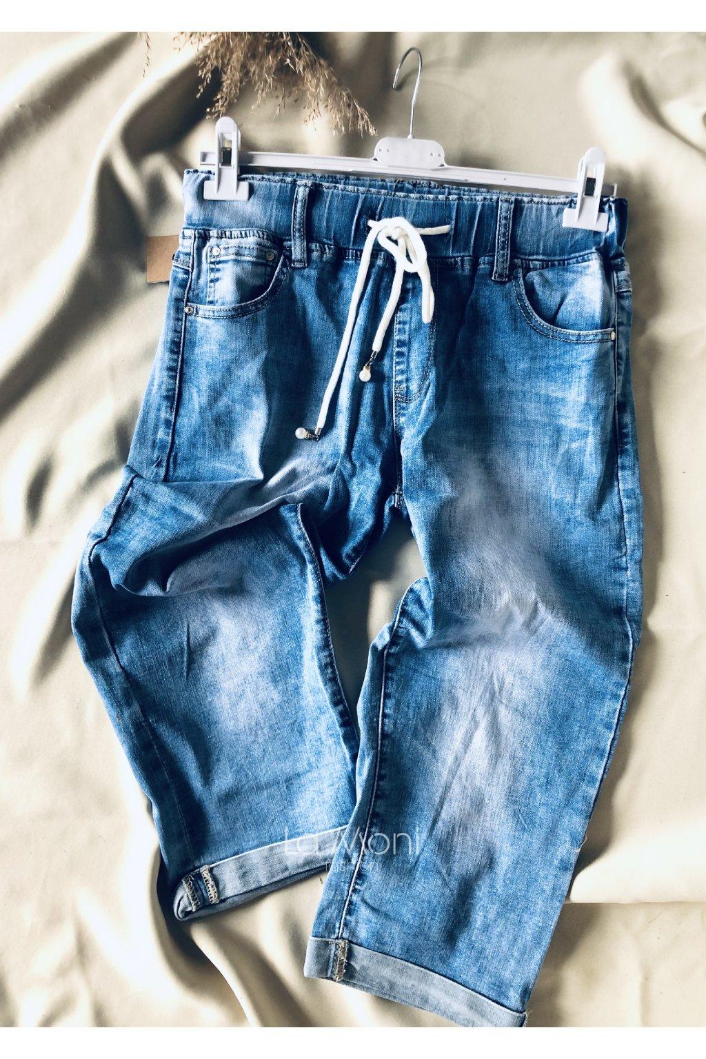 Džínové 3/4  kalhoty na gumu na stažení