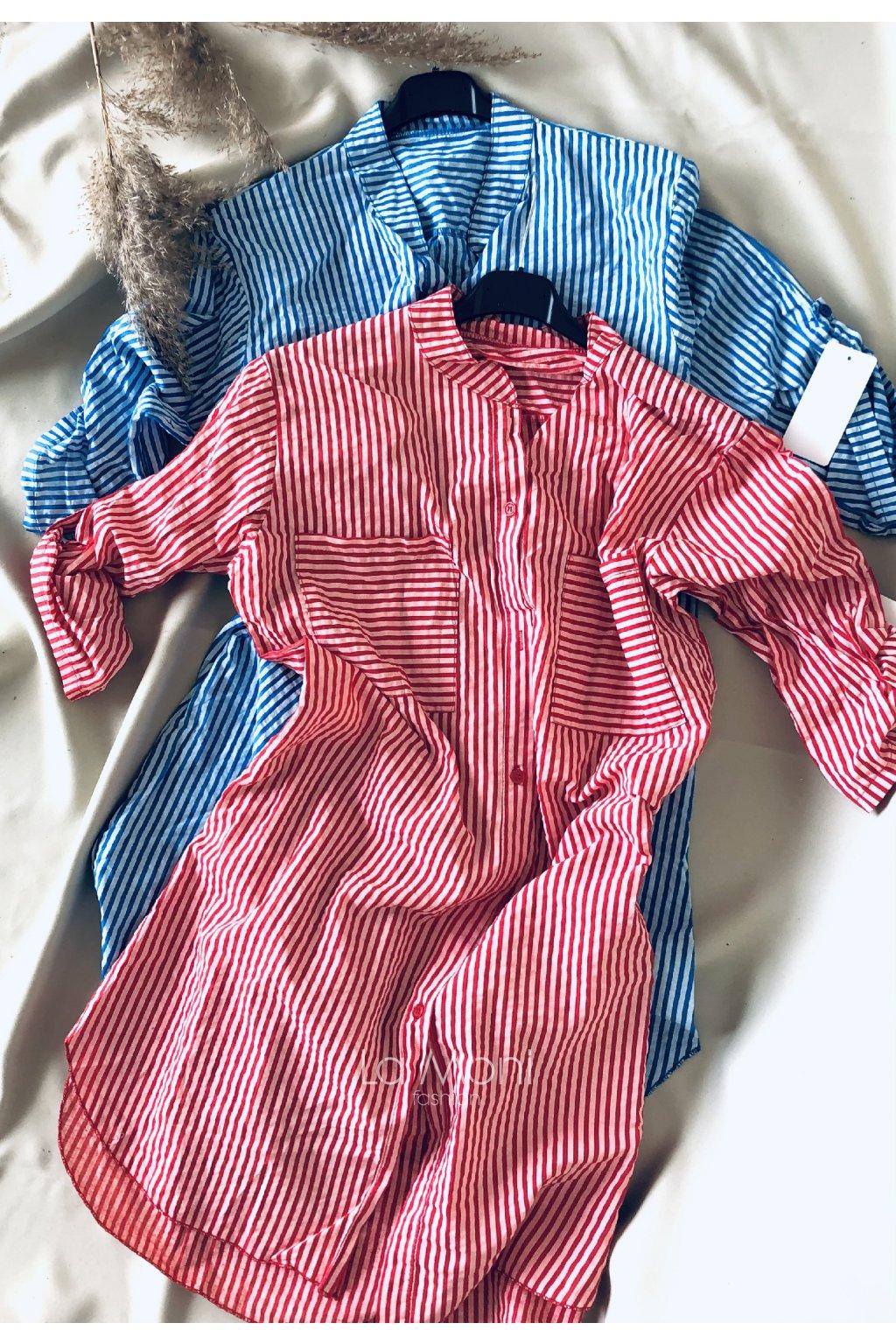 Košilové oversize proužkované šaty