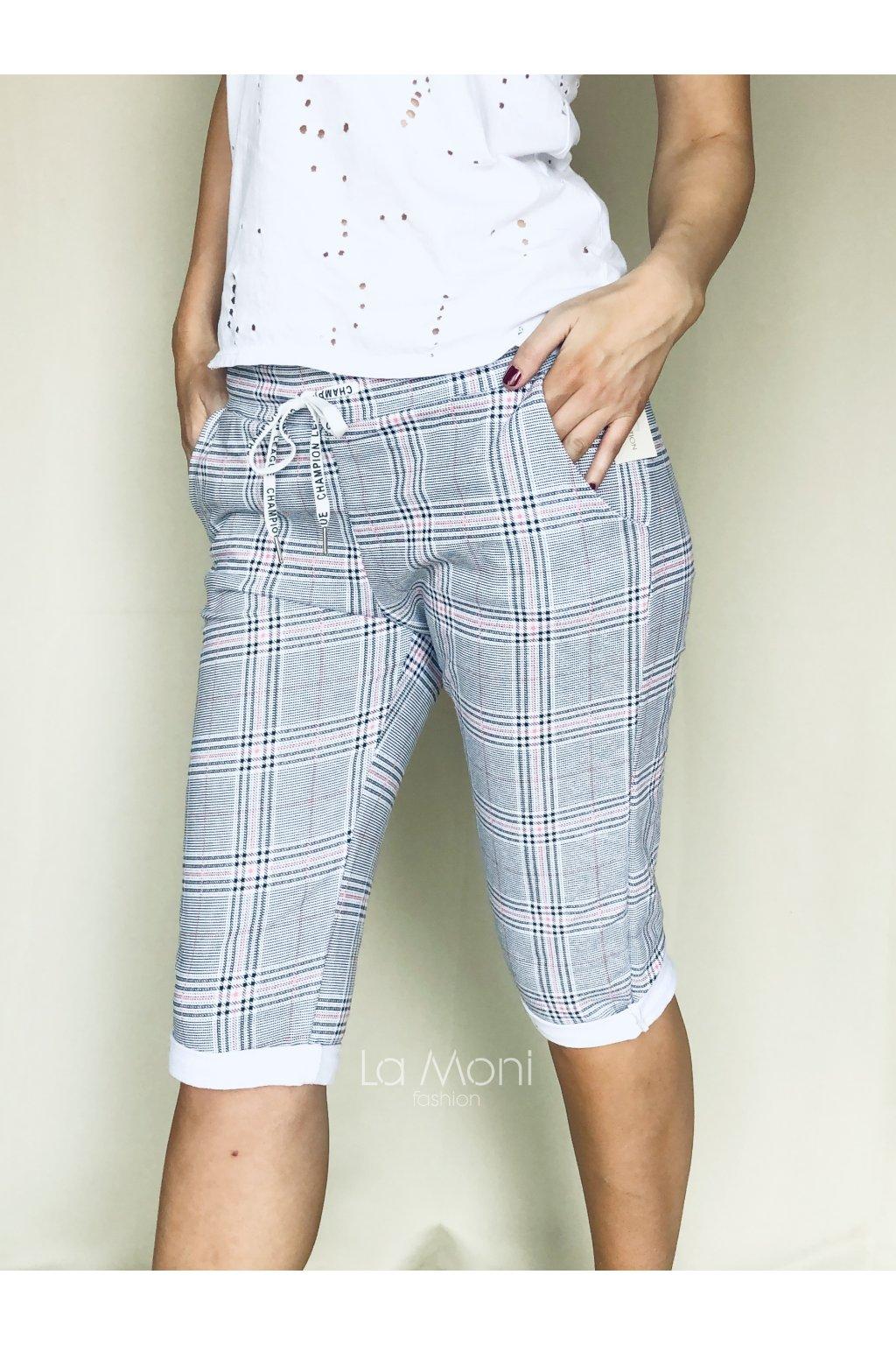 Kárované 3/4 úpletové kalhoty