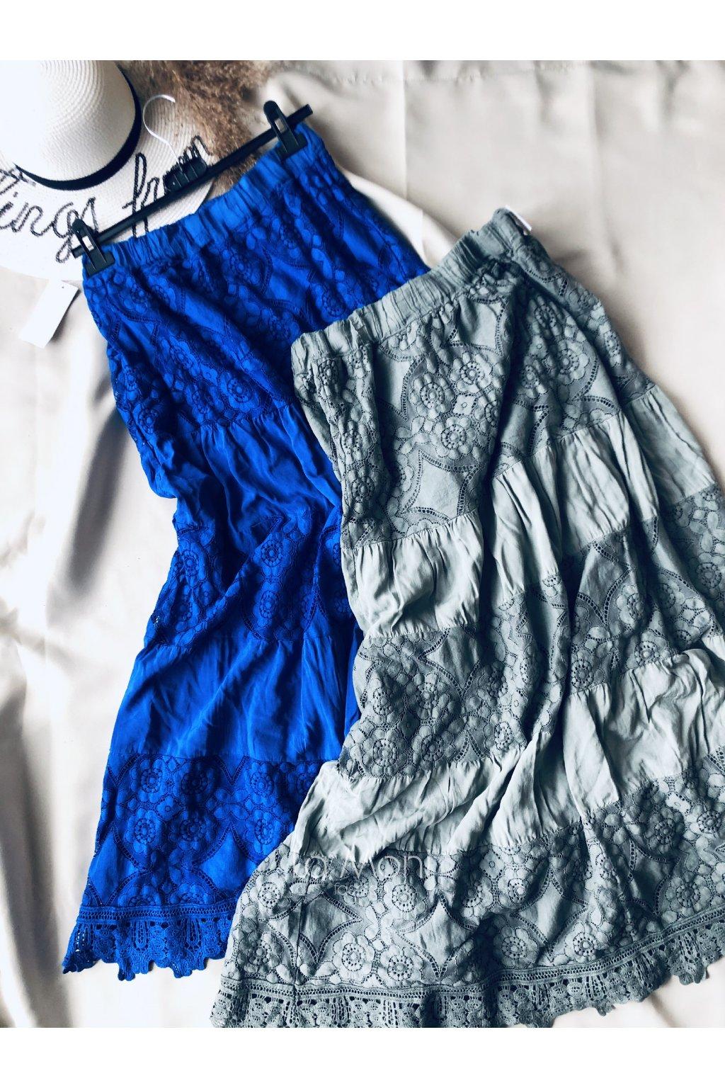 Krajková dlouhá sukně- madeira