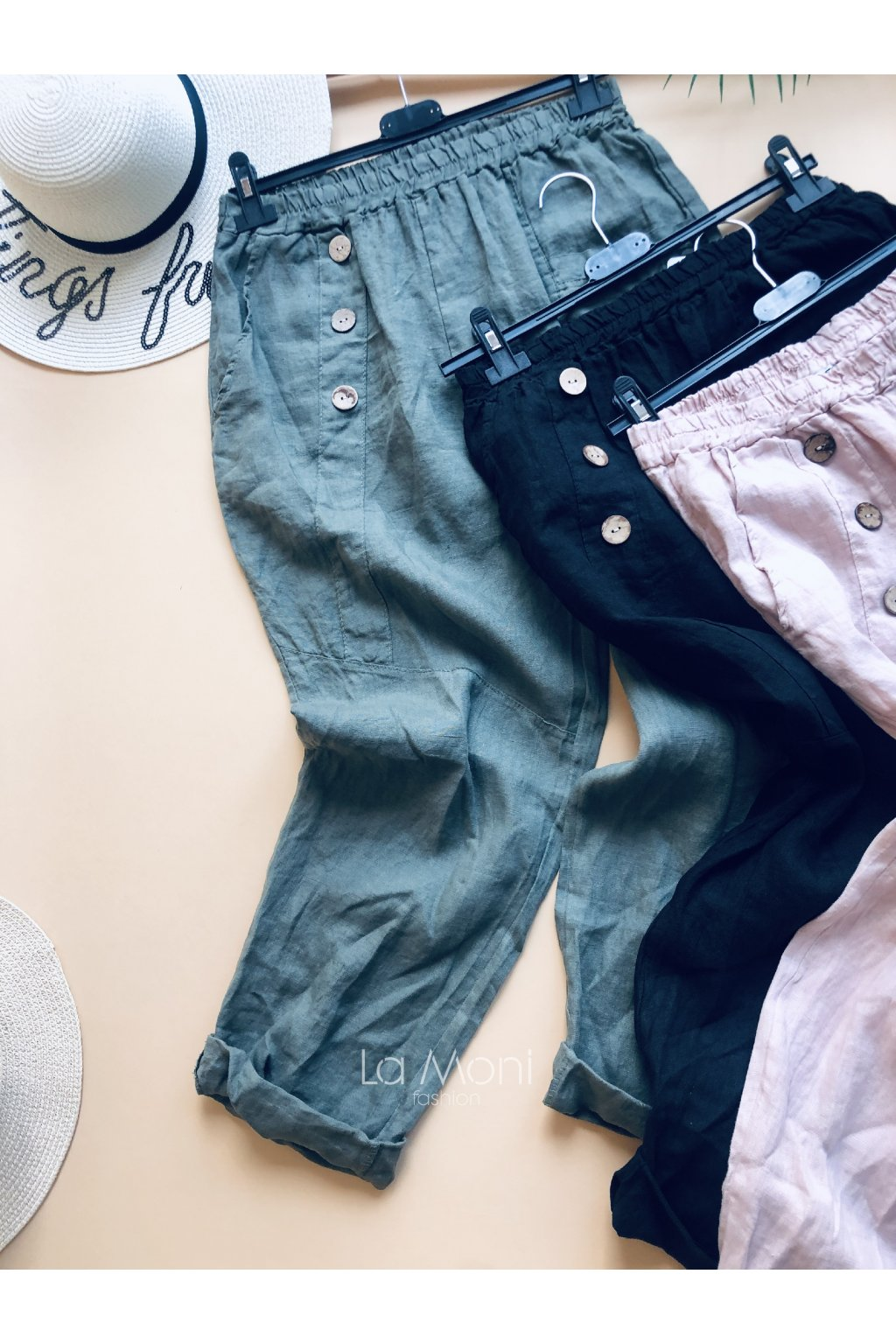 Lněné pohodlné kalhoty- větší velikost   L/XL
