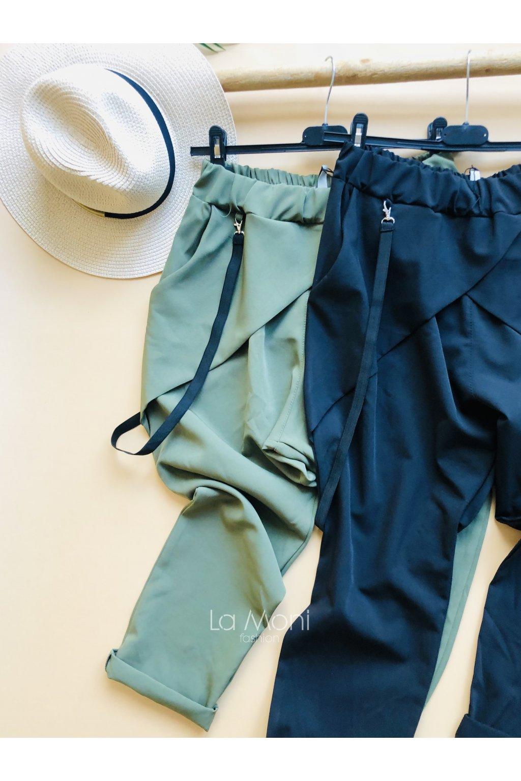 Elegantní kalhoty buggy  s kšandami