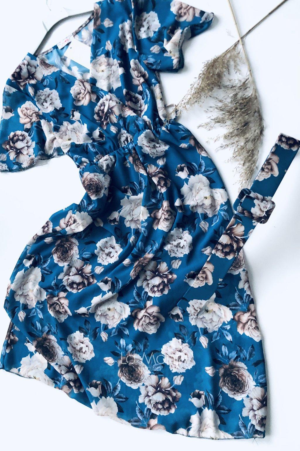 Křížené šifonové květované šaty s páskem