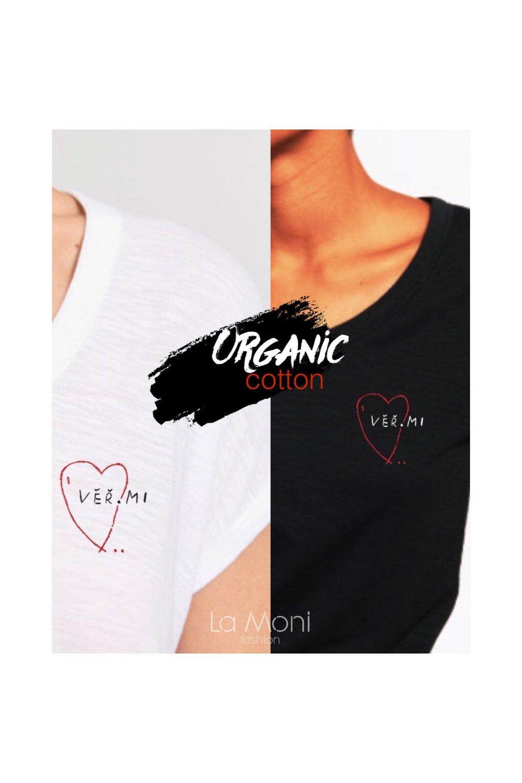 Triko organická bavlna -  srdce Věř.mi