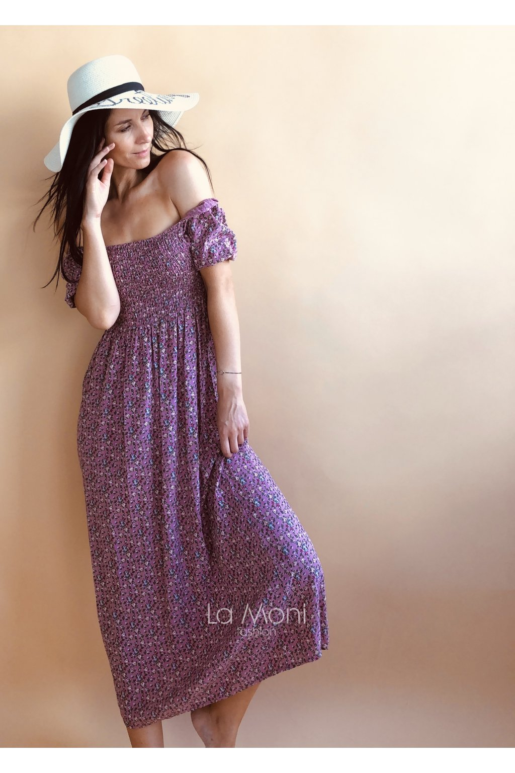 Dlouhé květinkové šaty m/l