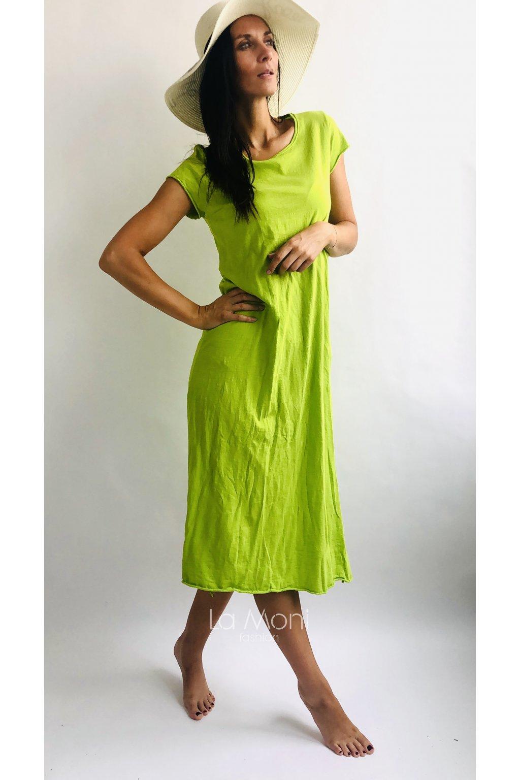 Úpletové žíhahané dlouhé šaty s rozparkem  m/l