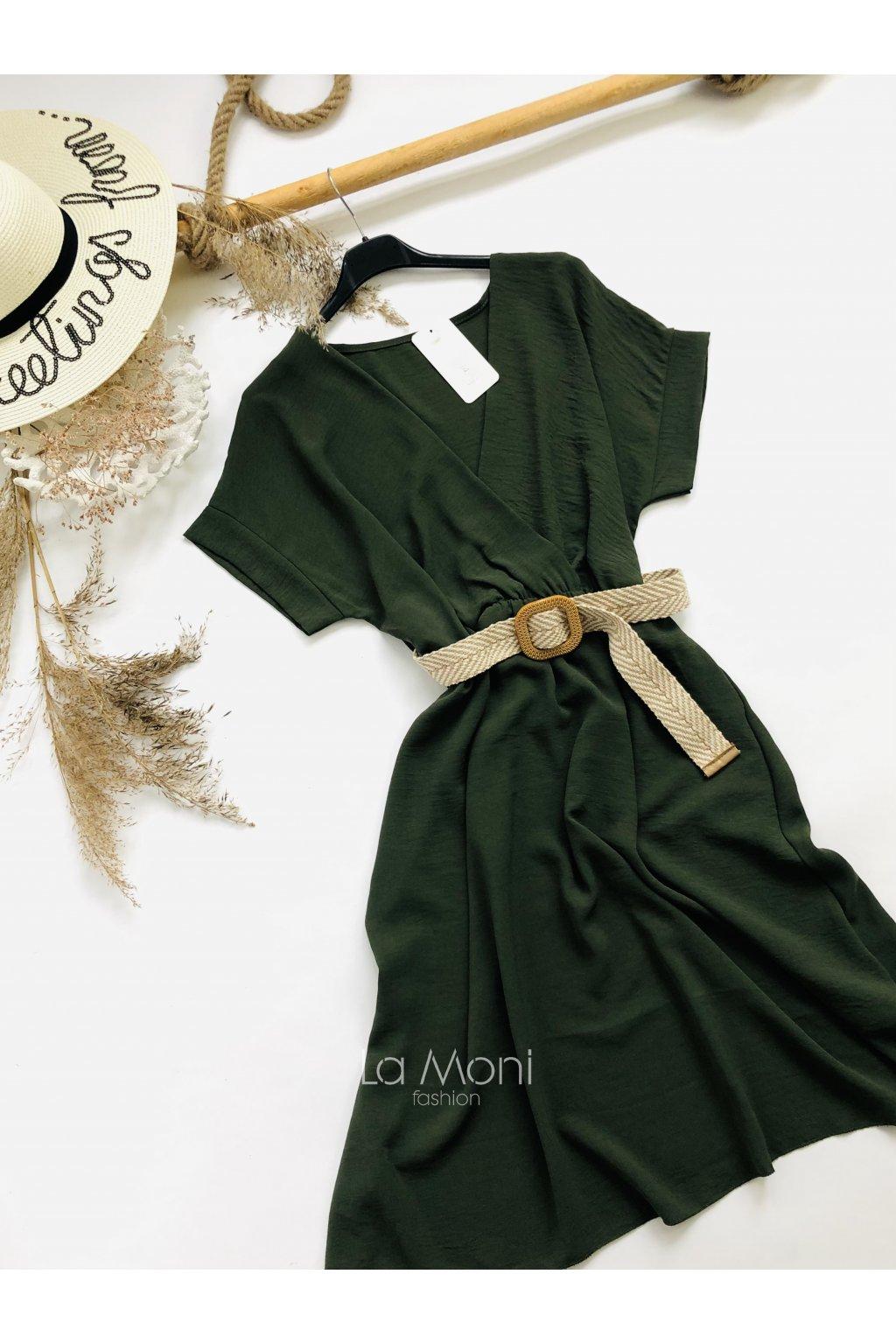 Křížené šaty s páskem  - netopýr střih  m/l