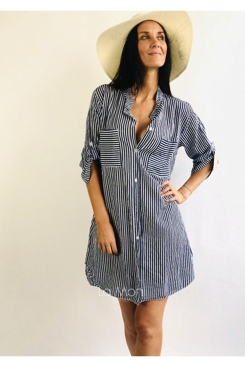 Oversize  košilové proužkované šaty