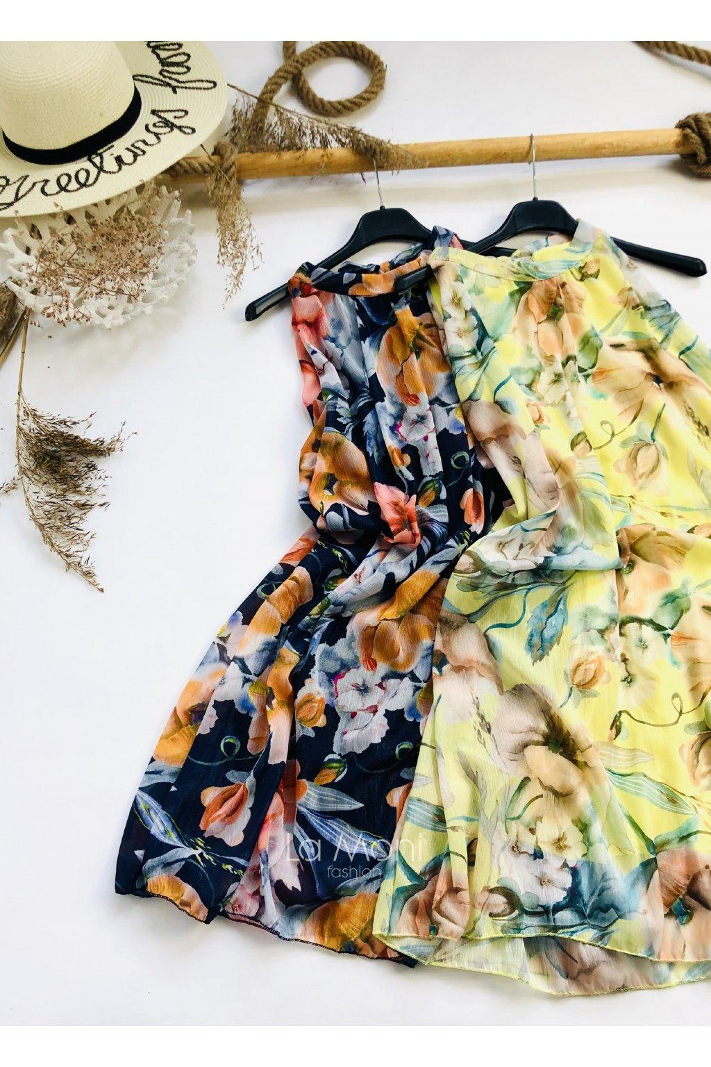 Luxusní šifonové šaty  s květinami  m/l