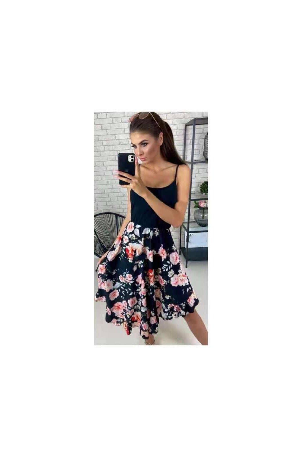 Šaty na ramínka- květovaná sukně