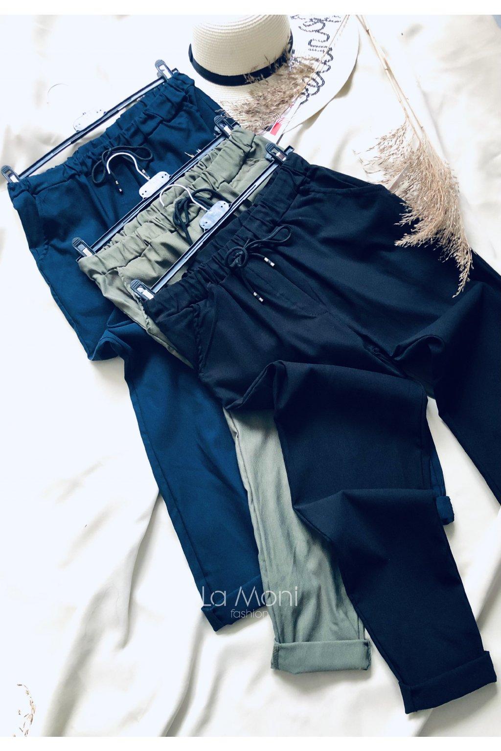 Super strečové kalhoty na gumu v pase