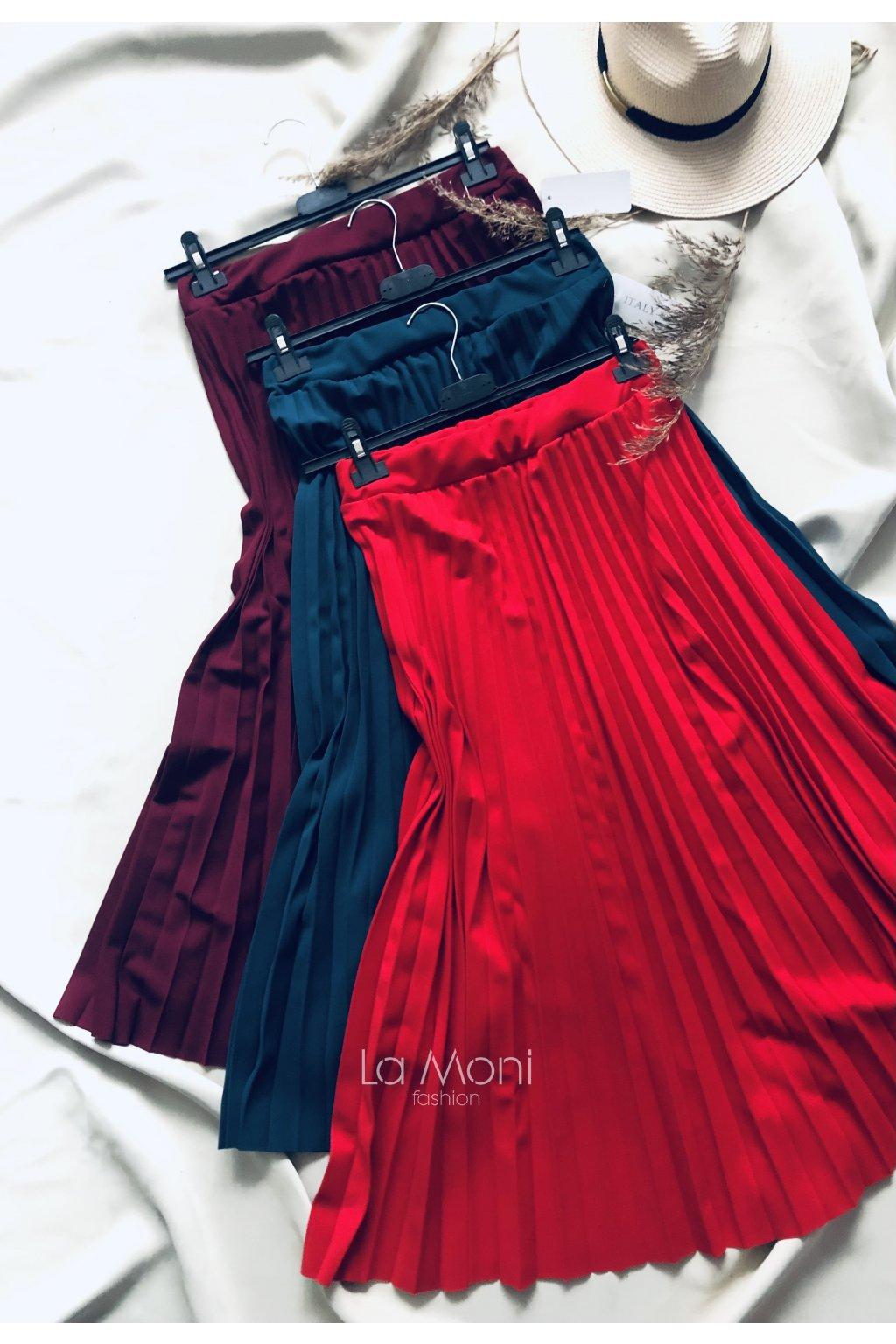 Plisovaná sukně  - podzimní barvy m/l