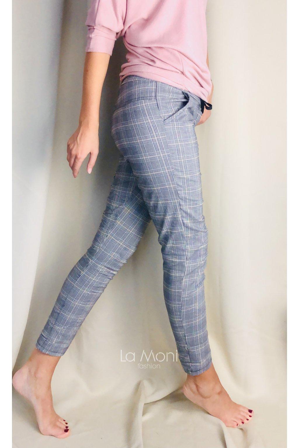 Strečové kalhoty   karo - více vzorů   vel. M
