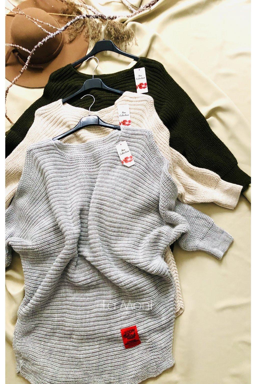 Netopýr  svetrové šaty - volný střih   oversize