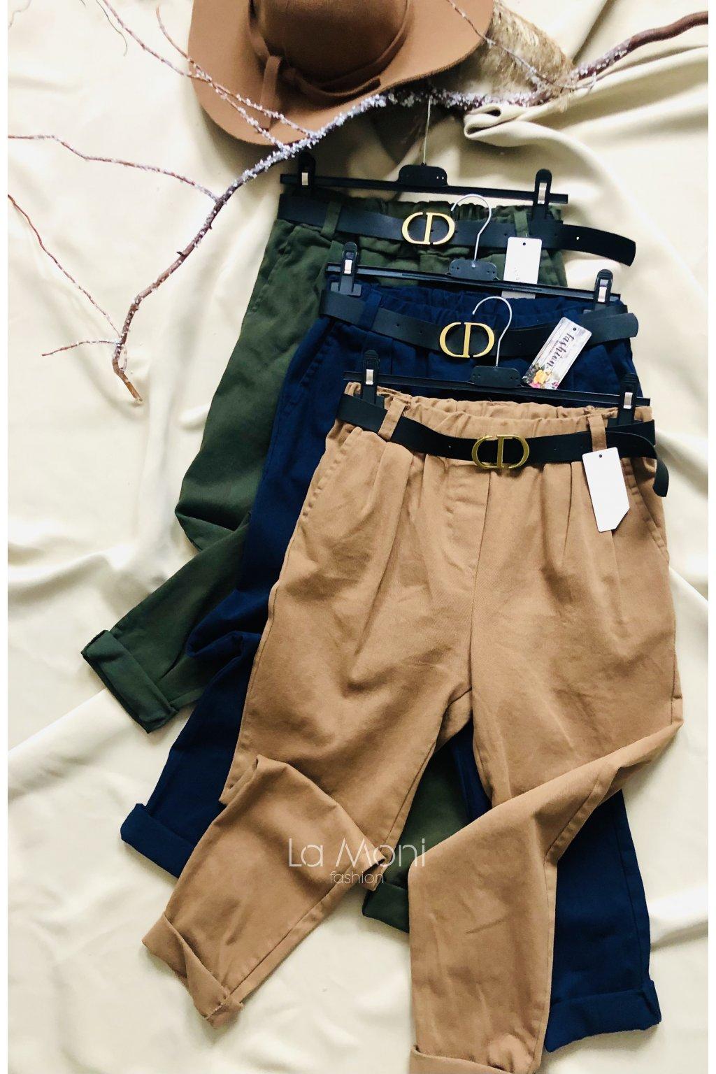 Kalhoty do pasu na gumu  s páskem