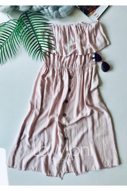 Letní midi  šaty s volánem a knofíky