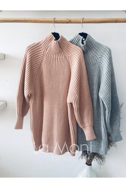 Velký huňatý svetr se stojáčkem