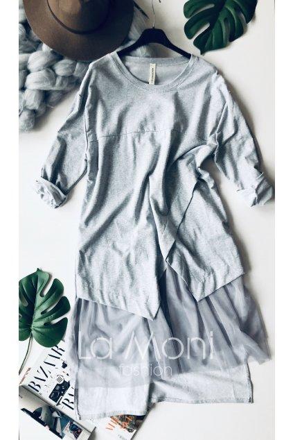 Šaty oversize cool střihu se šifonem