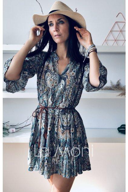 Šaty s rozhalenkou  volnější střih