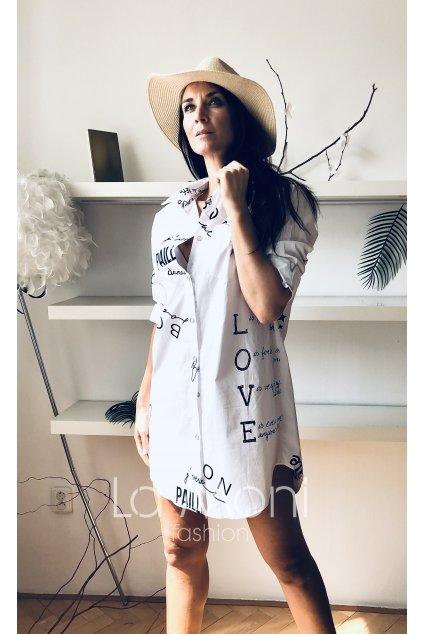 Dlouhá košile - šaty  s nápisy