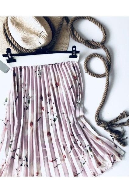 Plisovaná květovaná sukně