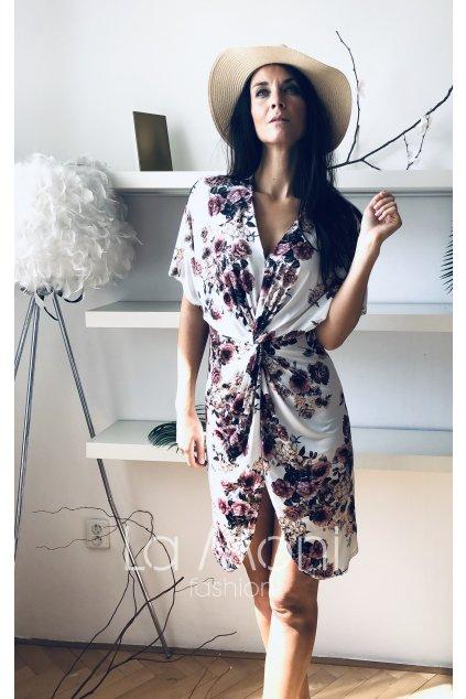 Květinové křížené šaty m-l