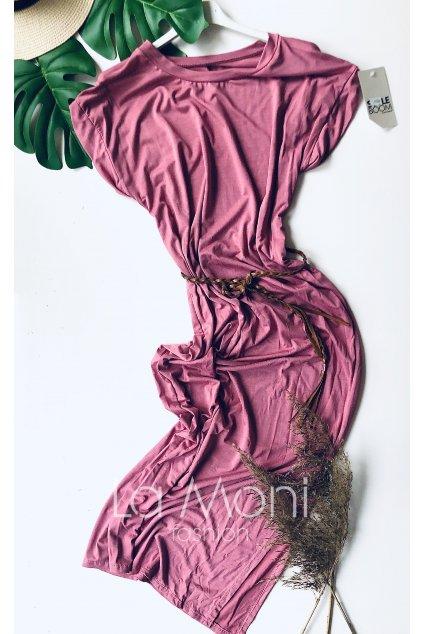Dlouhé úpletové šaty s páskem