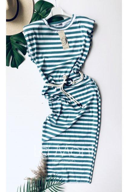 Dlouhé pruhované šaty s pásekm a vycpávkami