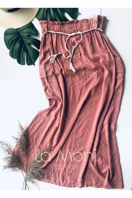 Delší sukně na pasu s kapsami