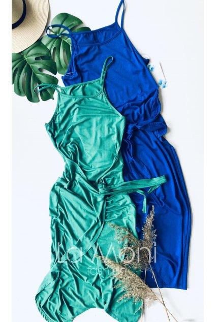 Šaty na ramínka na zavazování v pase