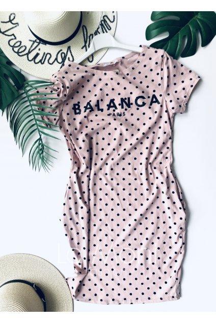 Úpletové puntikaté  šaty BALANCA