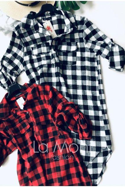 Košilové kostkované šaty