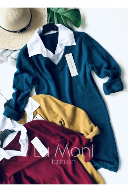 Svetříkové šaty s košilovým límečkem