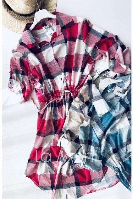 Košilové šaty na stažení- kostka