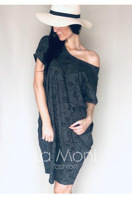 Oversize šaty   s potiskem tváří