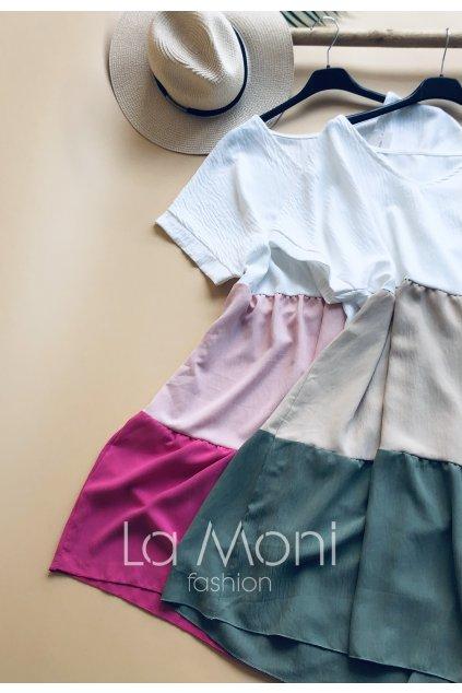 Pruhované šaty volného střihu véčko